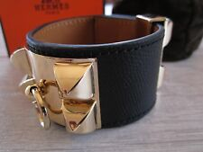 "brand NEW authentic HERMES ""Collier de Chien"" CDC bracelet BLACK leather & GOLD"