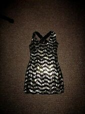 NEW * SEXY BLACK & CHAMPAGNE GOLD DELICATE SEQUIN PARTY COCKTAIL DRESS Sz 10-12