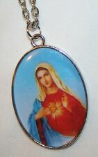 Handsome Silvertone Immaculate Heart of Mary Picture Medal Pendant Necklace