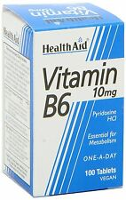HealthAid Vitamin B6 (Pyridoxine HCl) 10mg - 100 Tablets