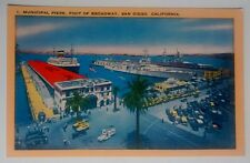 San Diego CA Municipal Piers Foot of Broadway Postcard Unposted Longshaw Card Co