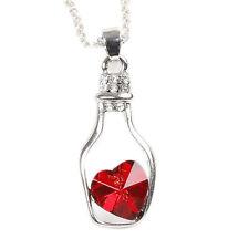 """Chaîne Collier Argent + Pendentif Bouteille Argent Coeur Cristal Rouge """" Neuf """""""