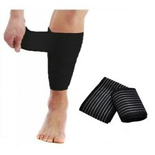 Black Elastic Compression Wrap Brace Bandage Sports Shin Calf Protector NHS Use