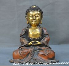 "12"" Old Chinese buddhism Bronze gilt Sitting Buddha sleep sakyamuni ruali statue"