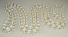 "VINTAGE HEAVY 100 ORB CRYSTAL POOLS OF LIGHT 62"" FLAPPER LENGTH LONG NECKLACE"