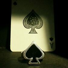 Ace of Spades Sterling Silver with black resin ALL SIZES