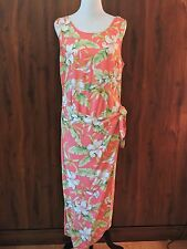 Multi-Color Tropical Floral Print Rayon Wrap Dress By Cabana Women's XL