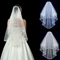 New Elegant 2T White or Ivory Wedding Bridal Elbow Satin Edge Veil With Comb ALL