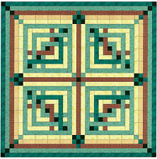 Quilt Kit/Lattice Diamond/Teal/Brown/Cream/Pre-cut Fabric Ready To Sew/EXP SHIP