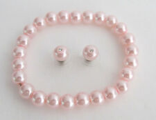 Pink Pearl Stretchable bracelet with Stud Earrings Wedding Gift
