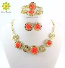 African Jewelry Sets Fashion Dubai Wedding Necklace Bracelet Earrings Ring Sets