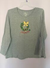 Christmas Holidays  JMS Just My Size Gray XMas Shirt Top Blouse Plus Size 3X NWT