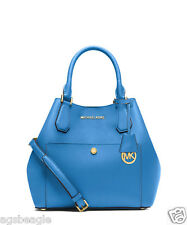 Michael Kors Bag 30S5GGRT6U MK Greenwich Medium Saffiano Leather Heritage Blue
