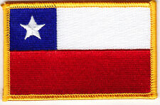 CHILE FLAG w/GOLD BORDER - Iron On Embroidered Patch - Flag of Chile
