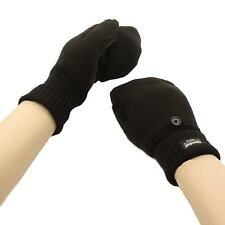 Men's 3M Thinsulate Flip Top Suede Fingerless Touch Screen Mitten Gloves Black