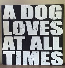 """Sixtrees A Dog Loves At All Times Box Sign, 16 """" x 1.5 """" x  16"""""""