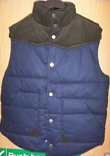 MENS QUILTED GILET/BODYWARMER NAVY/OLIVE  JACKET LINED SIZE S CHEST 38/40