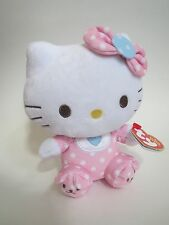 "Ty Hello Kitty Plush Beanie Babies 6"" Plush Pink Baby With Chime Rattle NWT"