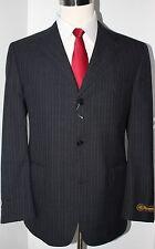 J Press Pressidential Gray Stripe Three Button Wool Suit 41 R 34 Flat Pants Trad
