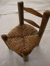 "Vintage Brown Wood Chair 6"" Tall 1:12 Scale Wicker Seat Doll House Furniture Toy"