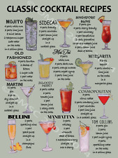 Classic Cocktail Recipes Metal Sign, Mancave, Retro Bar, Pub,Den Decor, Alcohol