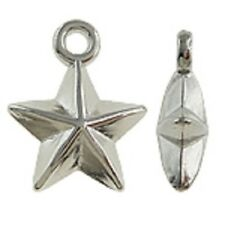 20 x CCB Acrylic Silver Star Charms/Pendants 17x14x6mm