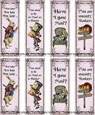 8 ALICE IN WONDERLAND BOOKMARK HANG / GIFT TAGS FOR SCRAPBOOK PAGES (42)