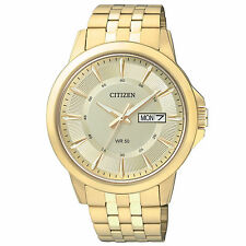 Mens Citizen Quartz Gold Tone Stainless Gold Dial Day and Date Watch BF2013-56P