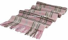 "New Classic TARTAN Plaid 100% 2-Ply Cashmere Scarf Muffler 70""x11"", Baby Pink"