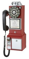 1950's Old Fashioned Rotary Classic Red Dial Pay Phone Vintage Phone Booth