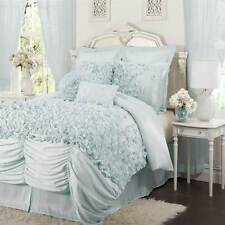 Lucia 4-pc Blue Comforter Set Overstuffed Comforter 2 Shams Bed Skirt Ruffled