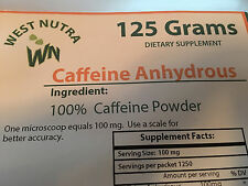 Caffeine 100% - Pure powdered 125 Grams with three proper sized measuring spoons