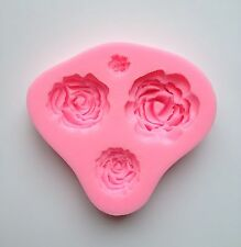 4 Design Rose Silicone Fondant Mold Cake Cupcake Flower Embossing Sugarcraft