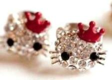 NEW! Hello Kitty Style Rhinestone Red Crown Stud Earrings for Girls of All Ages