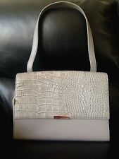 Ted Baker London Lowri Croc Embossed Leather Shoulder Bag Gray