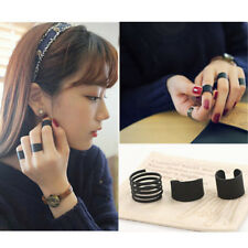 3Pcs Punk Negro Anillos Dedo Medio Nudillo Knuckle Above Midi Finger Ring