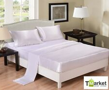 White - SATIN SHEETS QUEEN Size Soft Silk Feel Bedding 4pc Set Luxury Bed Linen