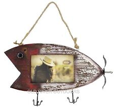 "Rustic Fishing Lure Barnwood Picture Frame 4"" x 6"" Photo - Fishing Bass Cabin"