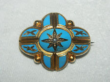Antique Victorian 15ct solid gold turquoise enamel & seed pearl brooch 6.9g