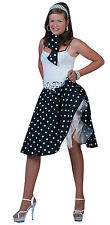 Girls Black & White Polka Dot Skirt 1950S Fancy Dress Grease Rock & Roll Outfit