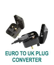 U0A - BLACK EURO 2 PIN TO UK 3 PIN CONVERTER PLUG ADAPTER EASY CLIP AND PLUG EU