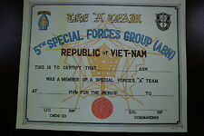 5TH SPECIAL FORCES GROUP AIRBORNE VIETNAM A TEAM MEMBER CERTIFICATE