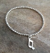 Simple Music Note Charm Silver Ball Beaded Stretch Surfer Bracelet Girls Ladies