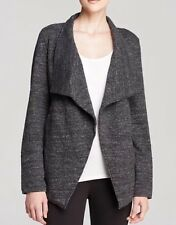 3X Eileen Fisher Charcoal Terrazzo StretchRipple Stand Collar Drape Front Jacket