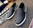 Fashion Men's Slip On Casual Sneakers Leather Shoes Recreational Black Loafers