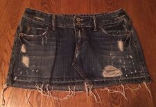 Hollister Blue 100% Cotton Distressed Jeans Skirt Size 0