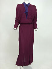 Vintage 1930s wine boucle knit dress with purple inset neck & ties labeled Med.