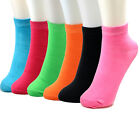 New Lot 6-12 Pairs Ankle Womens Socks Size 9-11 Multi Colors Cotton Casual Neon