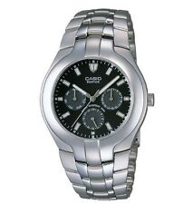 Casio EF304D-1A Men's Edifice Multi-Function Metal Band Black Dial Analog Watch