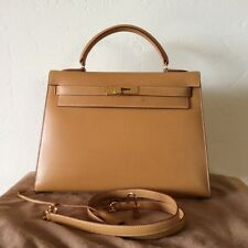 Reduced ! Authentic Hermes Kelly 32 Sellier Vache Natural Gold Hardware